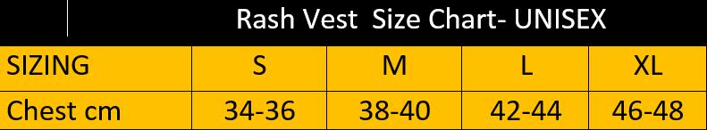 Rash Vest Size Chart